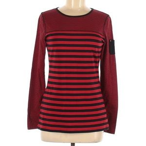 NWT Chaps red and black striped crew neck